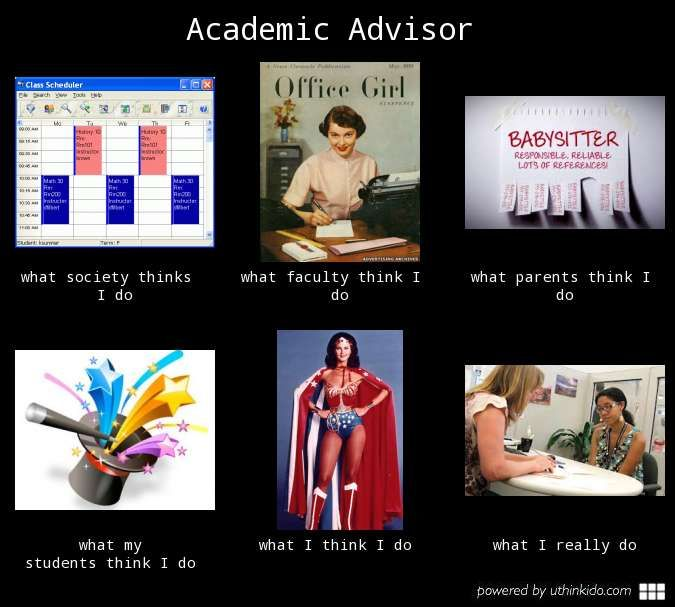 Academic advisor, What people think I do, What I really do ...
