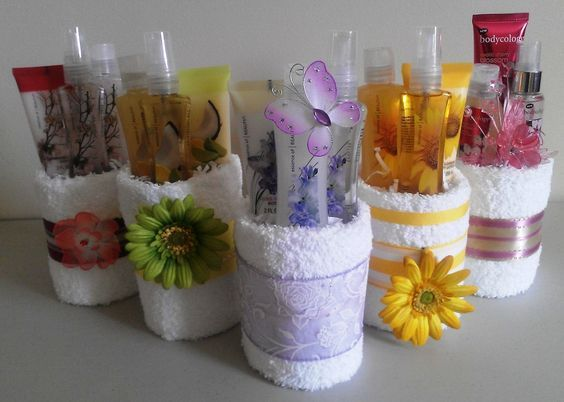 These are so cute! Body products wrapped in a towel/wash cloth. Easy to make and so many options :)