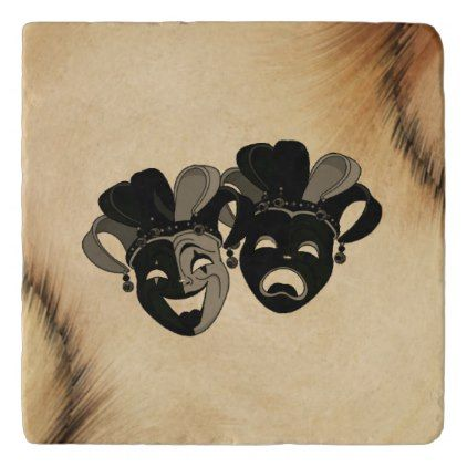 Comedy and Tragedy Theater Masks Jester Trivet - rustic gifts ideas customize personalize