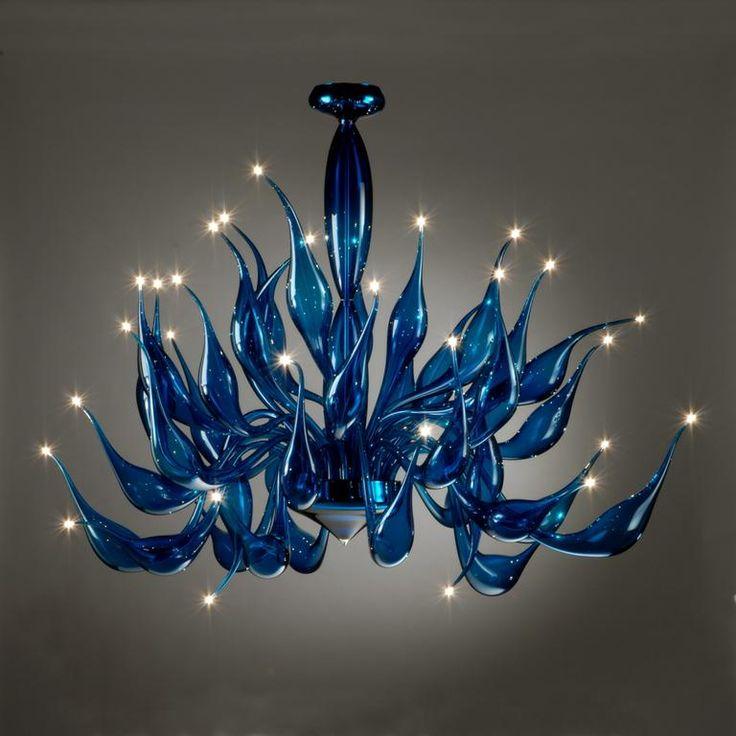 Murano glass Dazzling blue wave chandelier