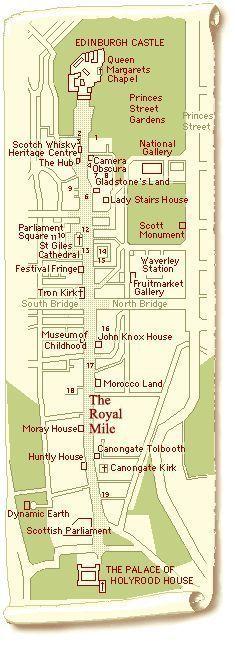 Mappa di The Royal Mile e una guida agli edifici al suo interno. …