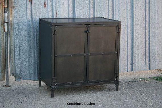 Vintage Industrial Night Stand/ End Table/Side Table. Mid Century Modern, Urban, Loft Decor, Steel