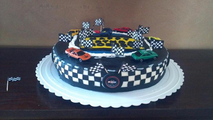 Birthday cake I made for a friends son. Nascar theme.