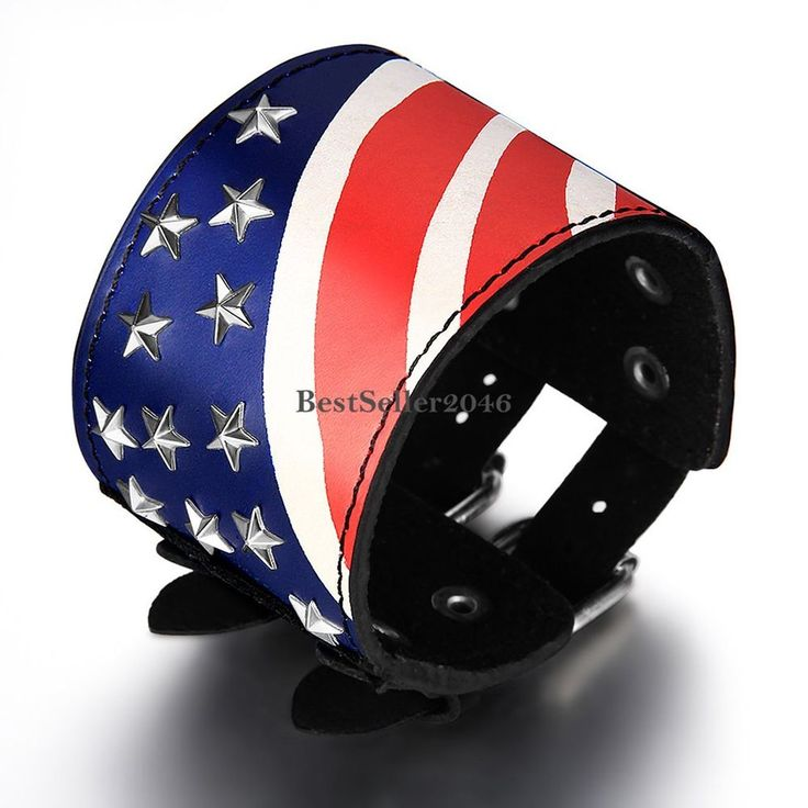 USA Fahne Flagge Leder Legierung Armband Armkette Armschmuck Geschenk