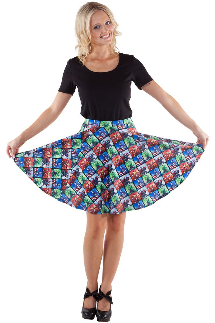 Earth's Mightiest Heroes Skater Skirt $60.00 AUD