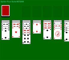 """Deux jeux de cartes de poker sont représentés sur un tissu vert en forme de ligne gratuit 4 Costume de Spider Solitaire jeu. Seuls les plus attentifs, les joueurs, les """"poids lourds"""" de la logique et de la stratégie, parviendra à jouer au solitaire. Rafraîchir votre mémoire, de règles et de faire de votre esprit profiter de cette le poids!"""