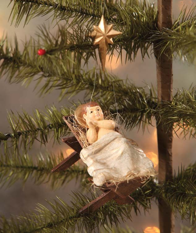 Bethany Lowe Away in a Manger Ornament | Baby Jesus in Cradle - TheHolidayBarn.com