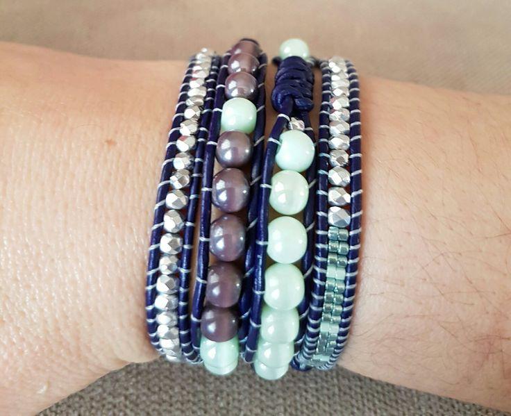 Leather bracelet, deri bileklik, glass beads, cam boncuk, miyuki, delica, knots