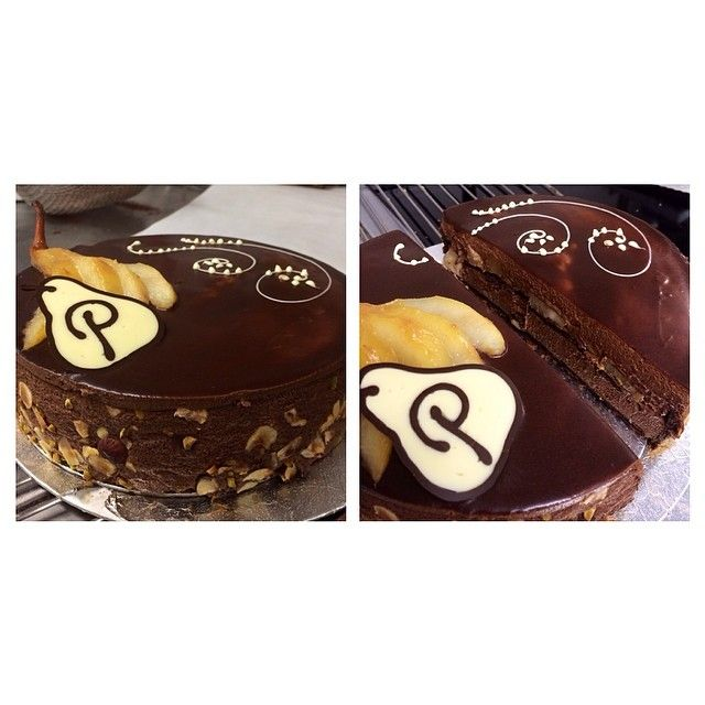 Dark chocolate mousse cake layered with caramelised pears