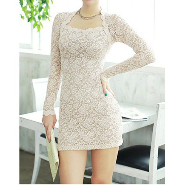 Sexy Scoop Neck Solid Color Long Sleeves Bodycon Lace Dress For Women