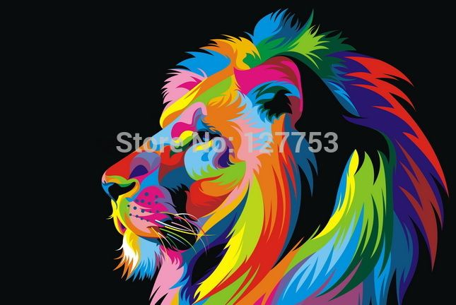 Original Animal Oil painting pictures print on the canvas, Art wall decor, Home wall art picture,color lion(China (Mainland))
