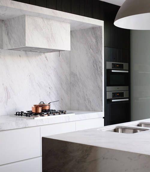 Marble range hood surround. #interiordesign #marble #kitchen | Mim Design