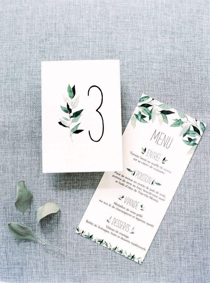 Watercolor foliage-inspired invitations: http://www.stylemepretty.com/2016/04/13/a-portugal-wedding-straight-from-a-fairytale/ | Photography: Brancoprata - http://brancoprata.com/