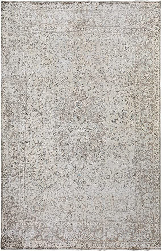 Floral Medallion Persian Tabriz Distressed Muted Oriental Area Rug Traditional Hand Knotted Wool Carpet 10 In 2020 Traditional Area Rugs Oriental Area Rugs Wool Carpet