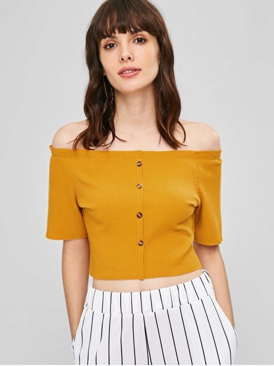 3f3a380c4753d Ribbed Off Shoulder Cropped Top - SCHOOL BUS YELLOW S