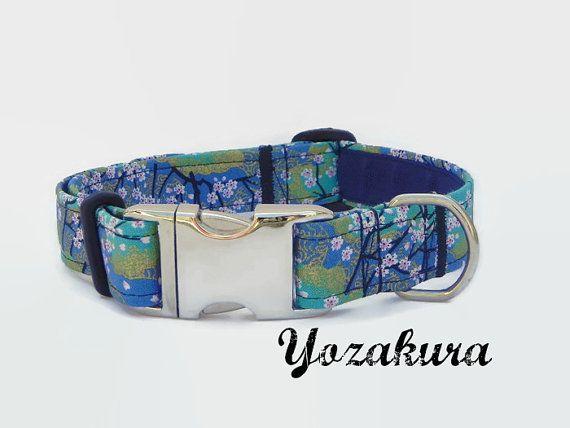 Green / Blue Japanese Kimono Style dog Collar  Size L by YukiAzumi