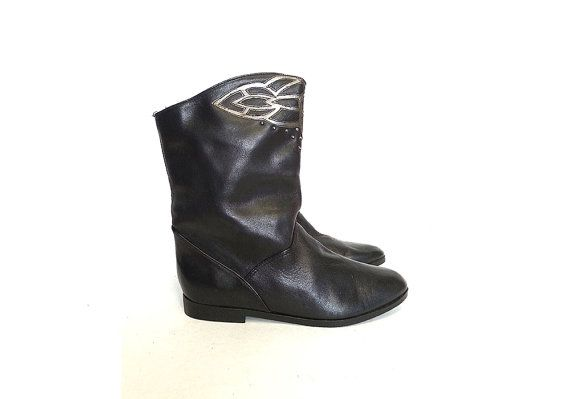 80s slouchy vegan BOOTS black with by MeasureTheTreasure on Etsy