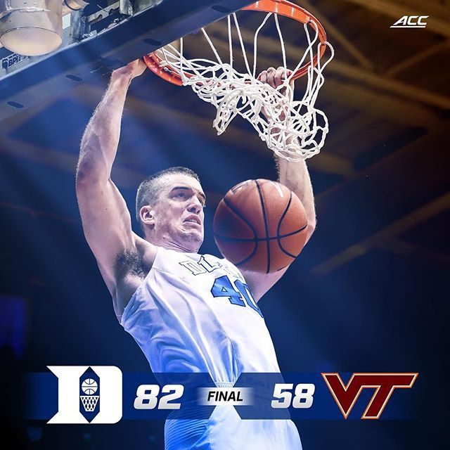 Final score from Cameron Indoor Stadium. #Together #DukeWins