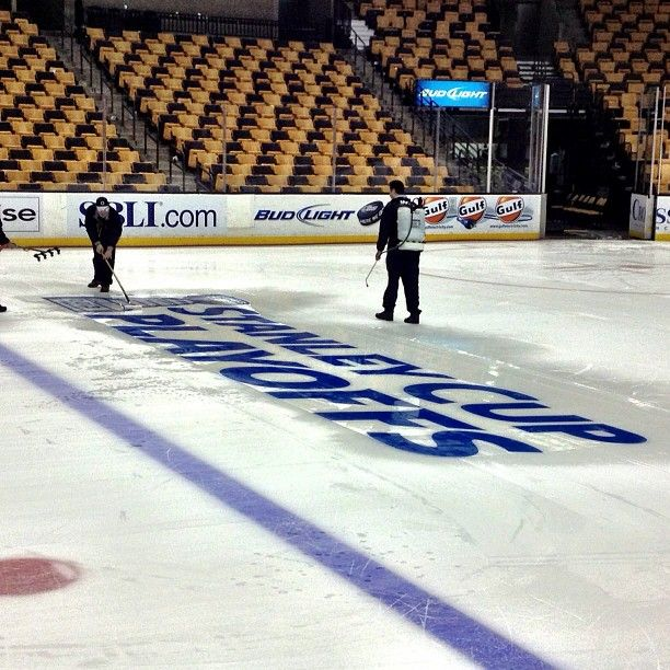 4/28/13 2013 Stanley Cup Playoffs logo getting placed on the TD Garden ice.