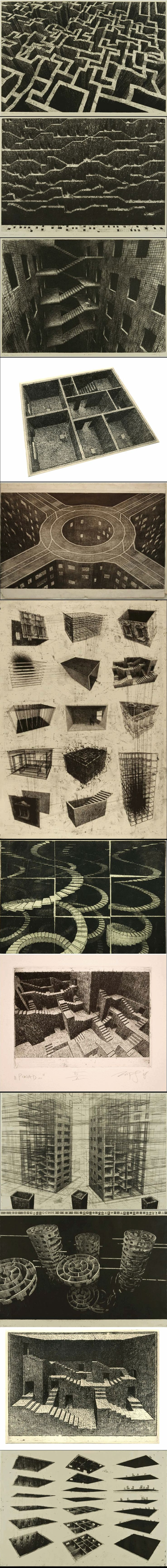Marcin Bialas' Visions (from http://socks-studio.com/2014/03/05/infinite-stairs-and-dissected-buildings-marcin-bialas-visions/)