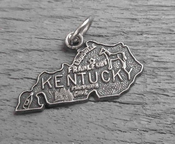 STERLING SILVER STATE OF KENTUCKY CHARM//PENDANT