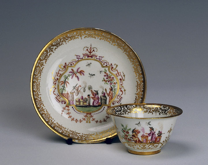 Cup and Saucer  Irminger, J.J. (model); Wald, A.E. (painting).  Germany, Meissen. 1715-1725 Porcelain; overglaze painting with gilding. H. 4.3, diam. 7.8 cm (cup); diam. 12.7 cm (saucer)  The State Hermitage Museum