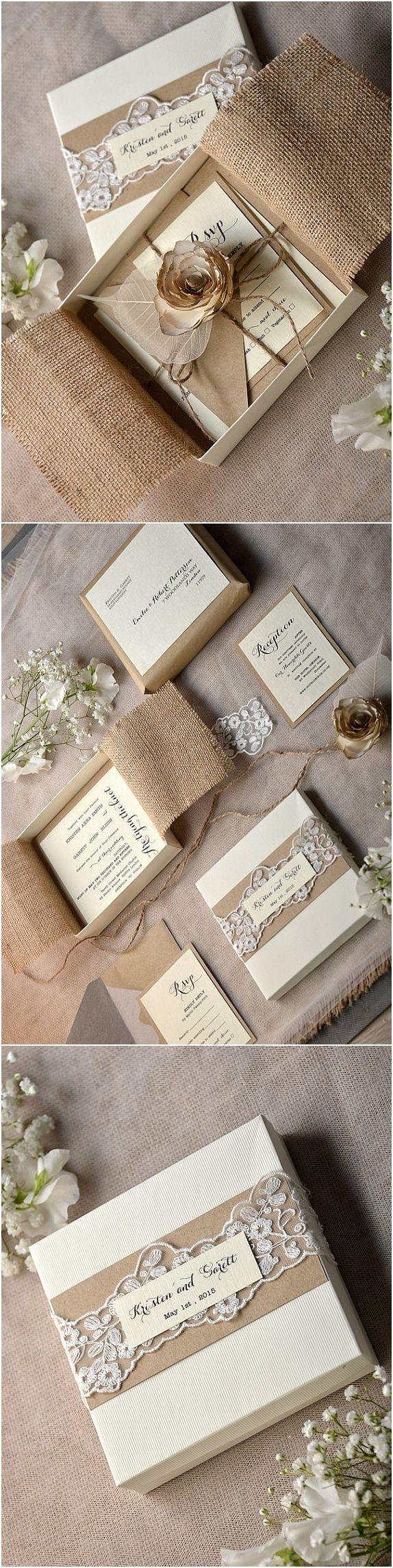 Rustic country burlap wedding invitations kits @4LOVEPolkaDots