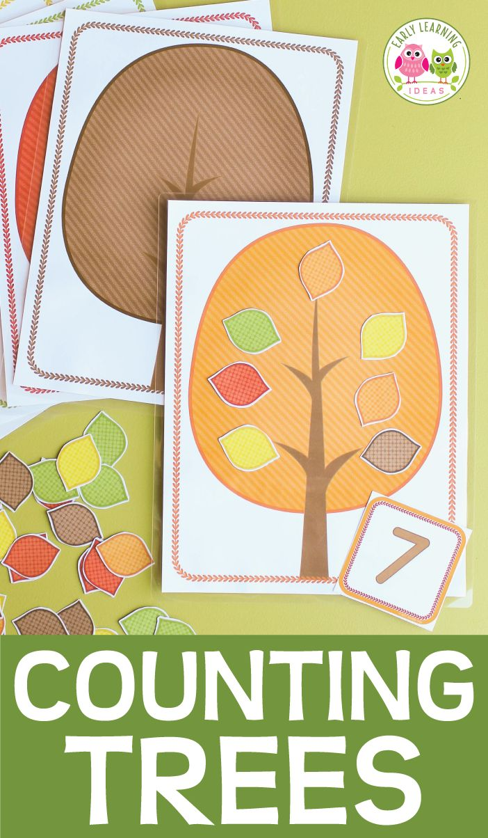 Teach counting, numeracy skills, number recognition, composing and decomposing numbers, number sense with this fall leaf counting activity.  Perfect for your fall leaves, October, November, or Autumn units or creative curriculum tree study. Preschool, pre-k, kindergarten math centers or math work stations.  You can also use them as play dough mats or with apple erasers for an apple unit.  #preschool #prek