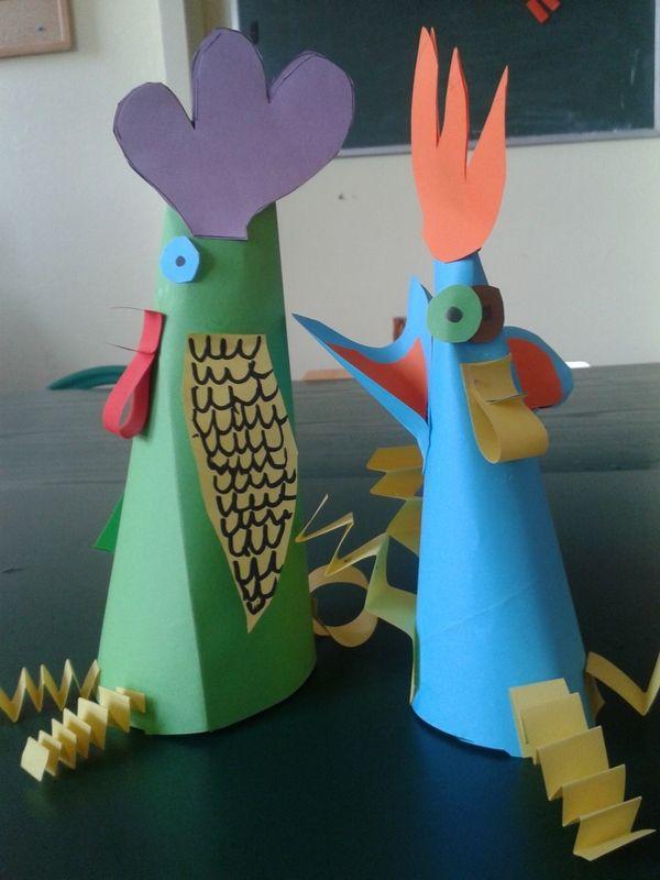 Kury papierowe z okazji Wielkanocy