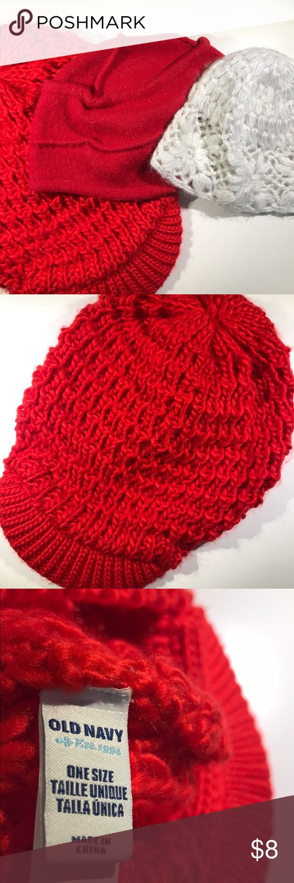 BRAND NEW pack of 3 Red and White Beanies/Hats! BRAND NEW NEVER WORN 3 Pack! First is a vibrant red beanie hat with a visor- perfect for a super cool woman! Next is a super cute red bowl hat- contains hair nicely! Last is a white intricate beanie with glitter detailing- a beautiful accessory! :) Accessories Hats