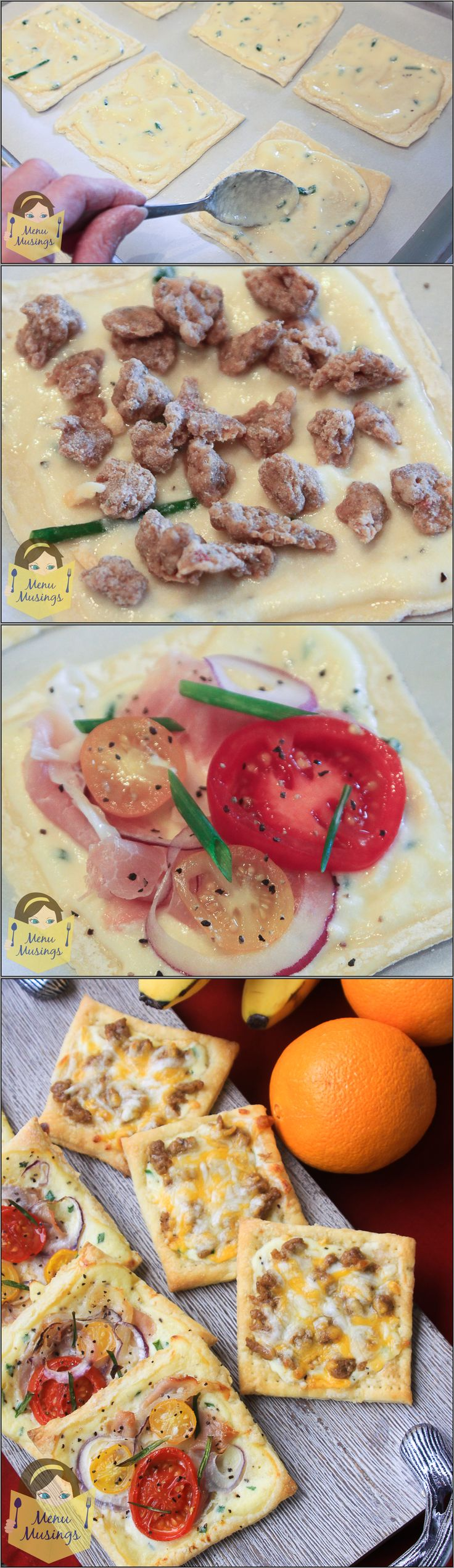 Puff Pastry Breakfast Pizzas - Make ahead of time, pop into the toaster oven before leaving for school or work! Any combination you choose, like these prosciutto and veggie or sausage and cheese ones for the kiddos! Step-by-step photos. ♥ ♥