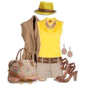 С чем носить коричневые босоножки: желтый топ бежевые шорты, коричневая кофта, сумка с принтом