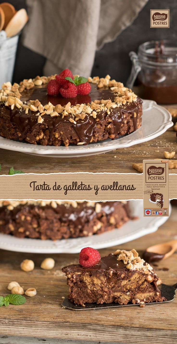 Tarta de galletas y avellanas