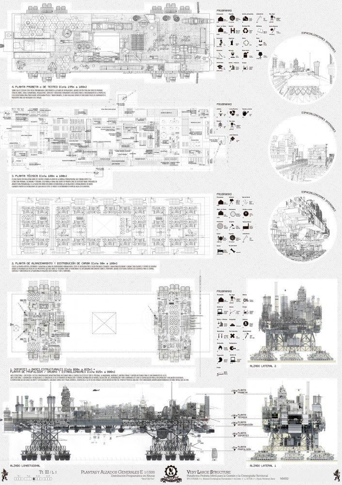"A Walking City for the 21st Century -- When jobs and resources start to decline, modern cities, such as Detroit, suffer difficult and often wasteful processes of urban contraction. In contrast to this, Manuel Dominguez's ""Very Large Structure,"" the result of his thesis project at ETSA Madrid, proposes a nomadic city that can move on caterpillar tracks to locations where work and resources are abundant. ..."
