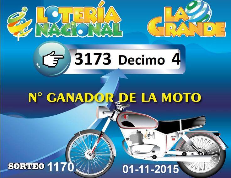 Numero favorecido de la Moto sorteada el domingo 1/11/15. Ver: http://wwwelcafedeoscar.blogspot.com/2015/11/resultados-loteria-la-grande-y-chica.html