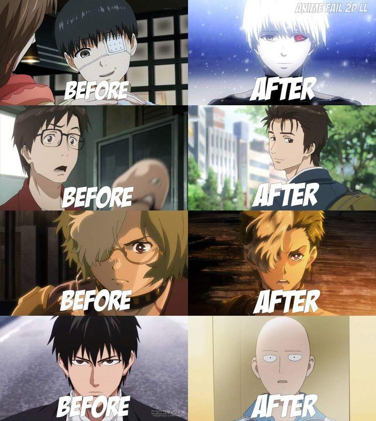 FAN MADE/FAN ART ANIME & MANGA, Changed Hairstyle of Protagonist, Tokyo Ghoul, Kiseijuu sei no kakuritsu, Koutetsu no Kabaneri & One punch man