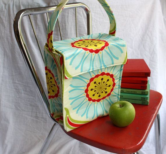 Custom Insulated Lunch Tote / Lunch Bag  - Your Choice of Fabric for this Design - Washable - Reusable
