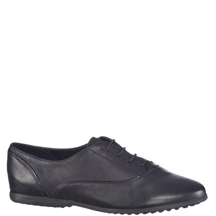 Pantofi casual fara toc pentru dama. Sunt din piele naturala neagra. In interior sunt din piele naturala. Inchiderea se face cu siret subtire textil.