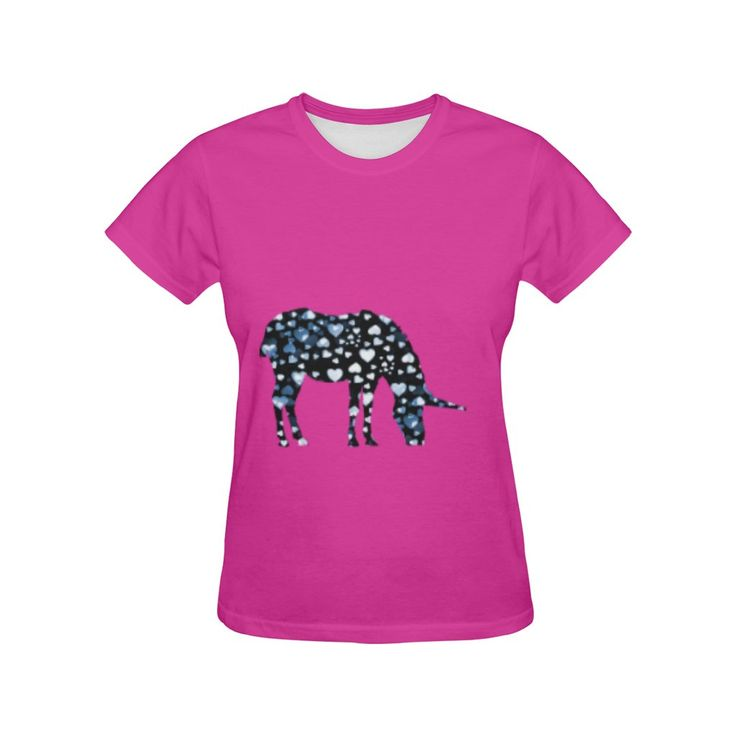 unicorn hearts blue on Pink Women's All Over Print T-Shirt (USA Size) (Model T40)