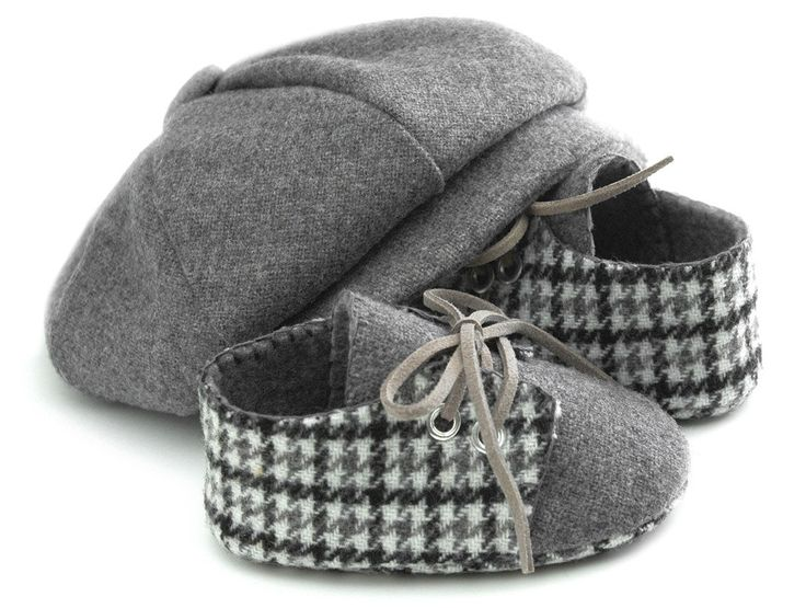 Etsy. pink2blue. Lucas Baby Boy Hat and Shoes Set, Grey Wool Houndstooth.