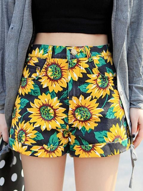 Sunflower Print High Waist Denim Shorts in Black