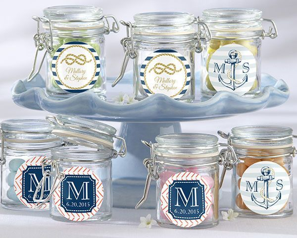 Personalized Glass Favor Jars - these Nautical Wedding Collection (Set of 12)