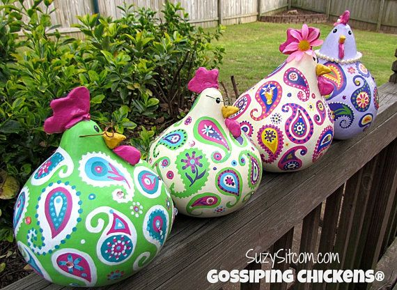 Gossiping chickens! Cute paisley painted chicken gourds. Check out my Etsy shop!