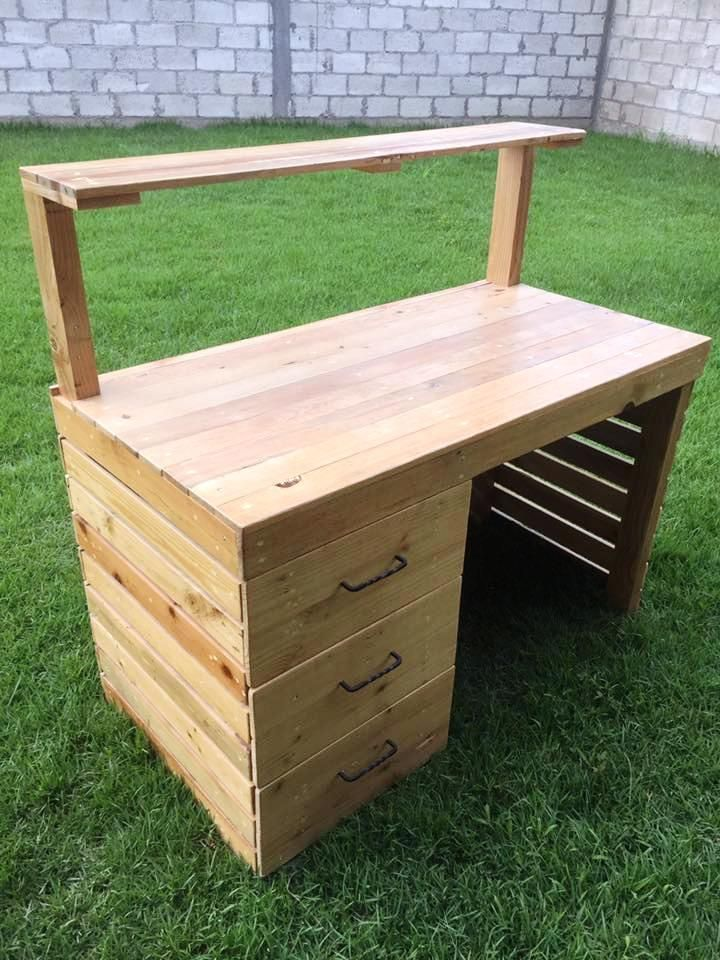Pallet Computer Desk with Shelf and Drawers Computer