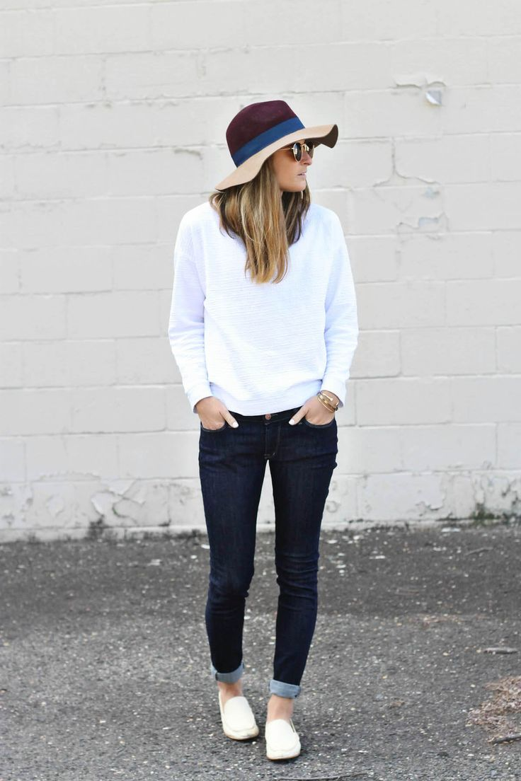 Primary Shades   BCBGeneration colorblock felt hat, #DSTLD skinny dark wash jeans, #DOLCEVITA white loafers, casual street style, nyc street style. fall fashion, fall outfit ideas, fashion blogger #tobebright
