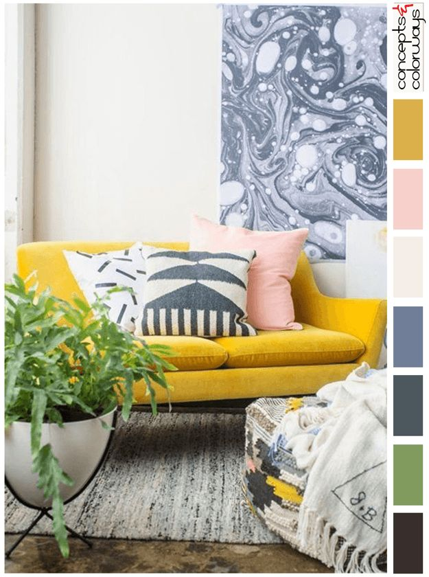 mustard yellow and pink interior design color palette, pantone spicy mustard, light peach, dark navy blue, green house plant