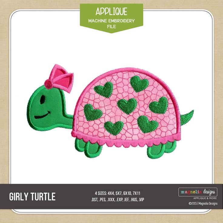 Adorable Girly Turtle Applique for machine embroidery by Magnolia Designs