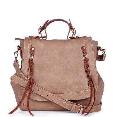 Rhea beige mocha satchel shoulder bag with leather accents