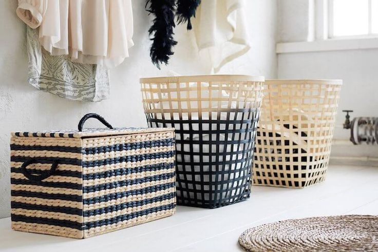Woven storage baskets from the new IKEA Nipprig range