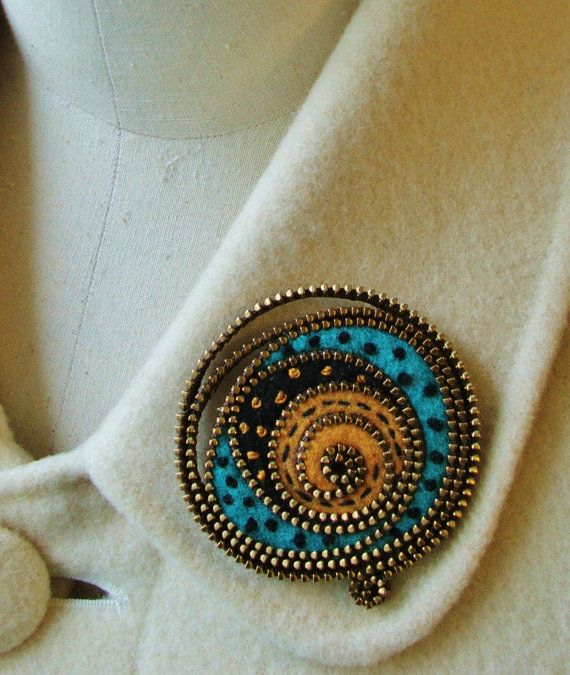 Cute!  Zipper and felted wool brooch